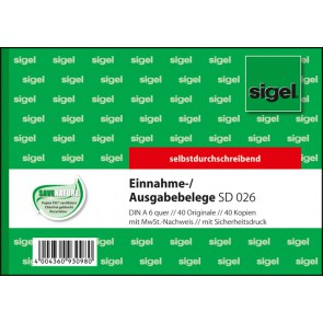 SIGEL Ausgabe-/Einnahmebeleg A6 2x40 Blatt selbstdurchschreibend