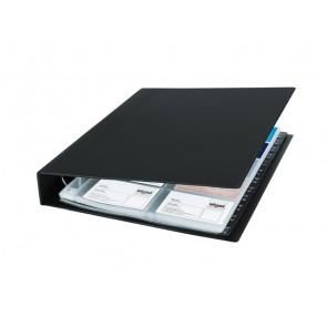 Visitenkarten-Ringbuch schwarz 2-reihig f. 400 Karten bis 90x58mm